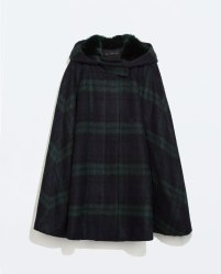 Zara: HOODED CHECKED WOOL CAPE $169.00